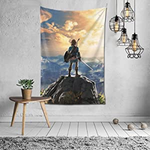 The Leg-end Of Ze-lda Breath Of The Wild Sunset Soft Durable Tapestry Gift For Family Bedroom Living Room Dorm Bed Cover Blanket Wall Hanging Decoration Tapestries For Apartment Home Art 40x60