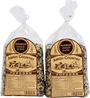 product image for Amish Country Popcorn | 2 - 2 lb Bags | Rainbow Popcorn Kernels | Old Fashioned with Recipe Guide