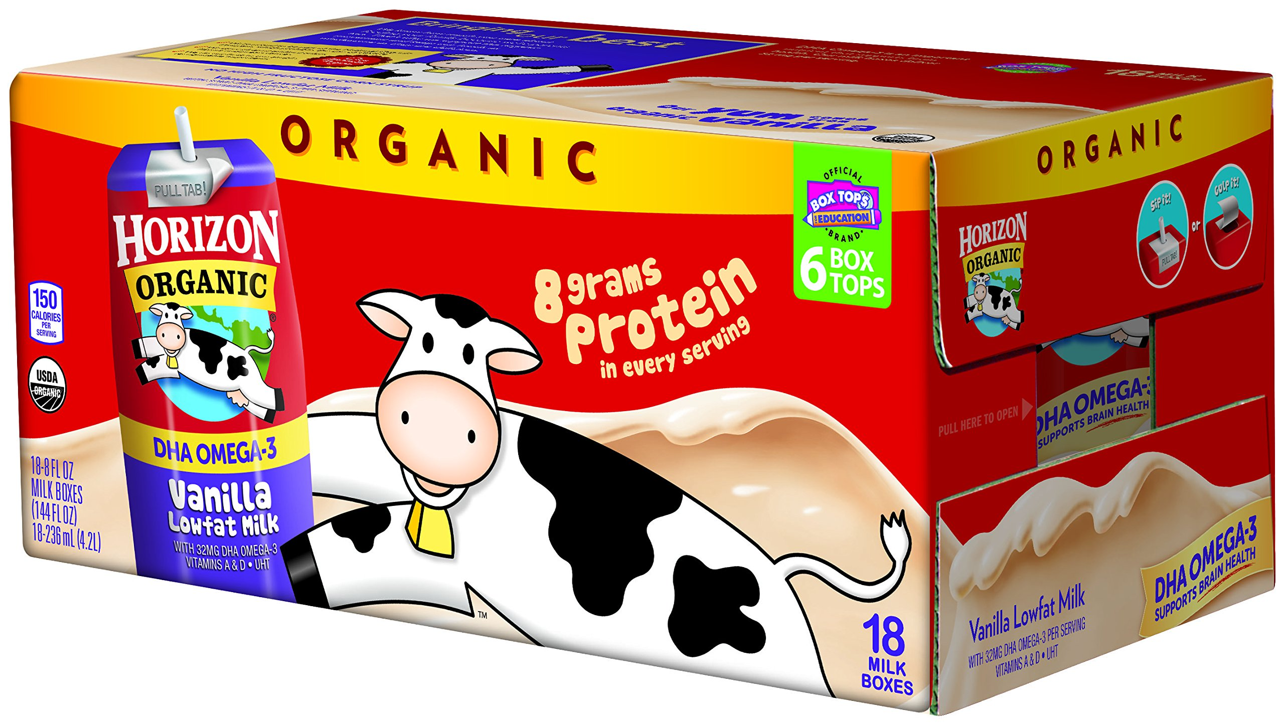 Horizon Organic Low Fat Organic Milk Box Plus DHA Omega-3, Vanilla, 8 Ounce (Pack of 18) by Horizon Organic