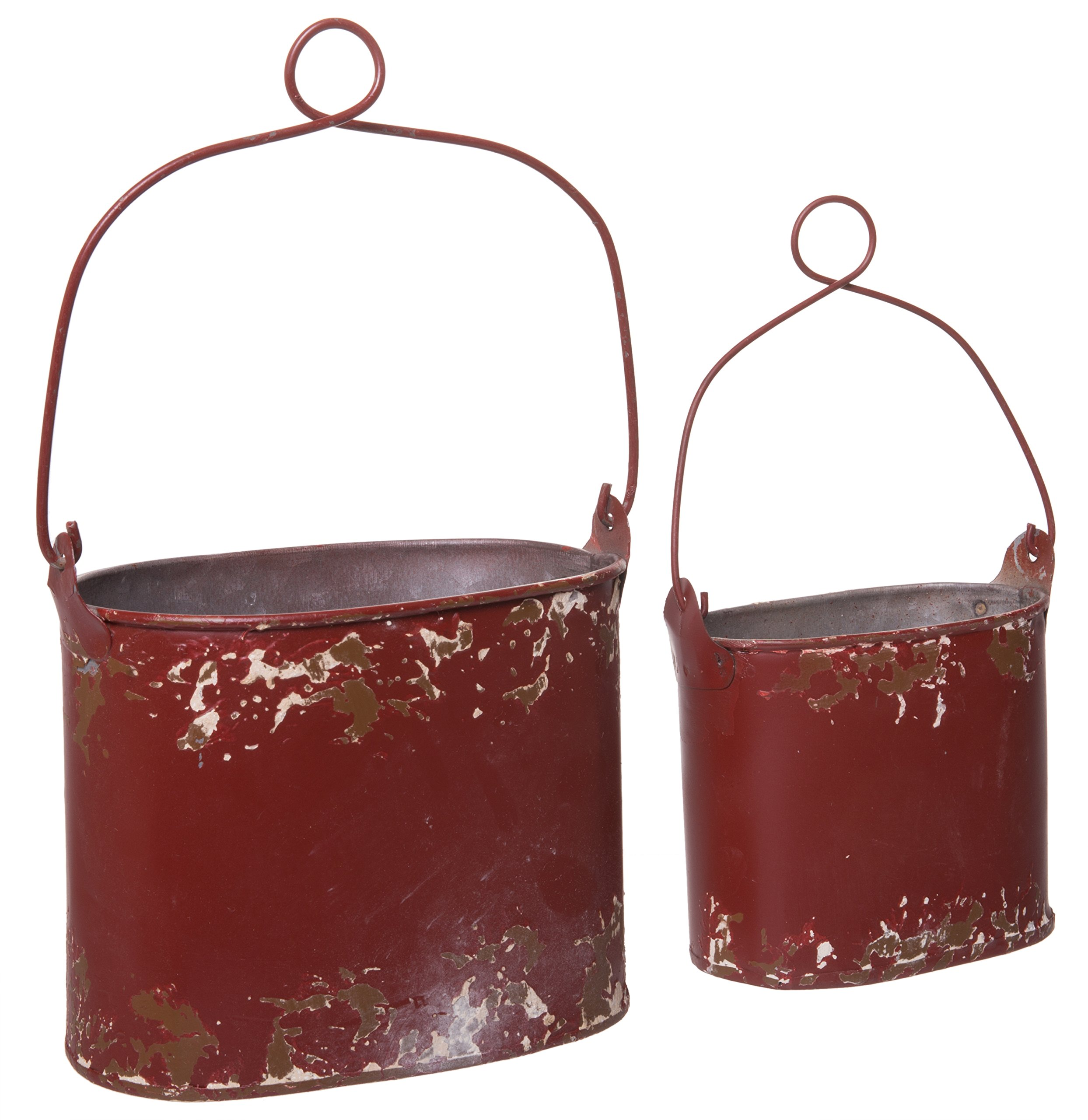 Farmhouse Style Tin Red Distressed Rusted Small Buckets - 2 Sizes