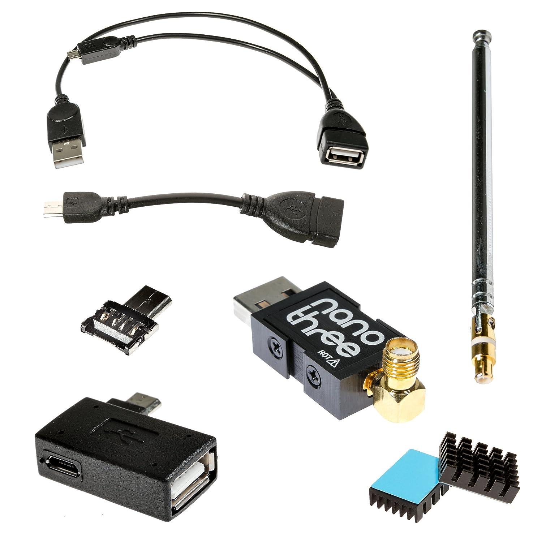 NooElec NESDR Nano 3 OTG Bundle - Premium Tiny RTL-SDR Bundle para Android y otros dispositivos USB On-The-Go (microUSB). Radio Definida por Software RTL2832U y R820T2 NooElec Inc.