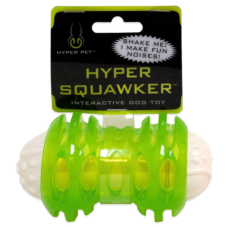 Hyper PetTM 4-3 4 Inch Squawker Bone Dog Toy in Green White