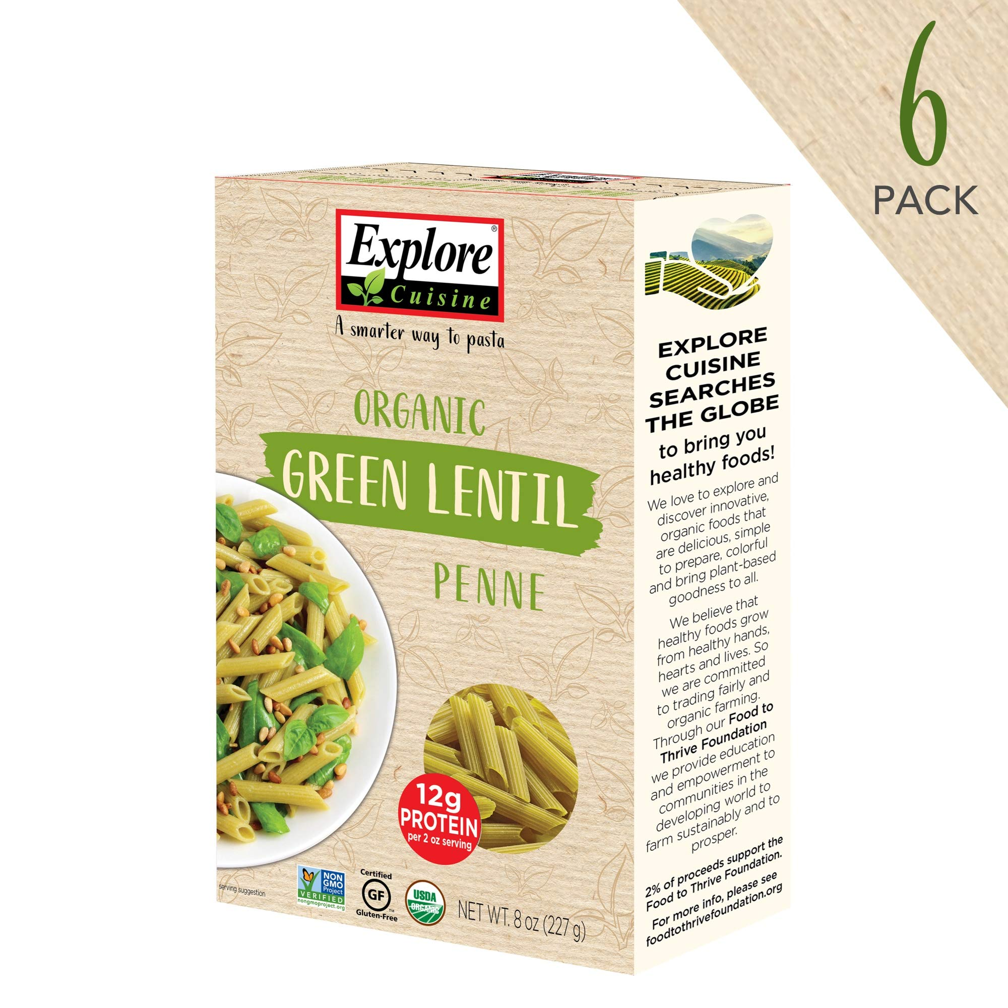 Explore Cuisine Organic Green Lentil Penne (6 Pack) - 8 oz - High Protein, Gluten Free Pasta, Easy to Make - USDA Certified Organic, Vegan, Kosher, Non GMO - 24 Total Servings by Excusn
