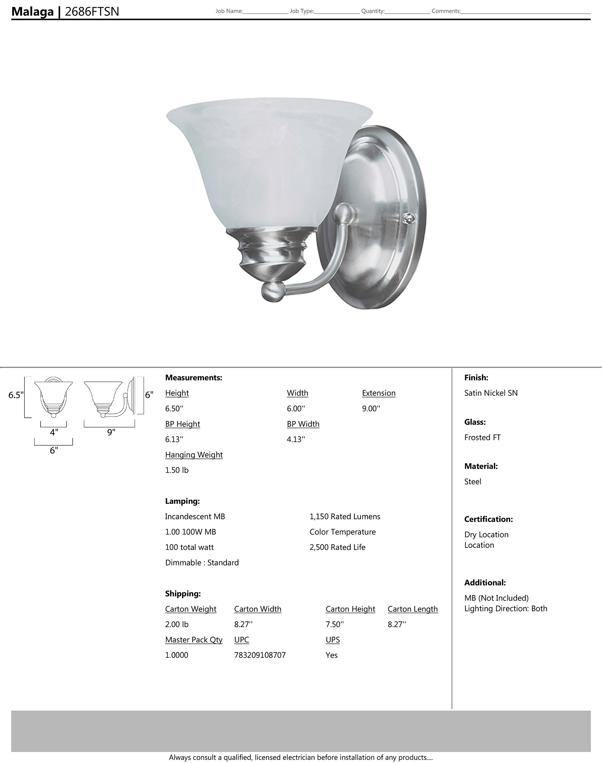 Maxim 2686FTSN Malaga 1-Light Wall Sconce Bath Vanity, Satin Nickel Finish, Frosted Glass, MB Incandescent Incandescent Bulb , 100W Max., Dry Safety Rating, Standard Dimmable, Glass Shade Material, 4600 Rated Lumens by Maxim Lighting (Image #2)
