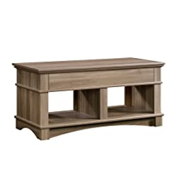 "Sauder 420329 Lift-Top Table, 43.15"" L x 19.449"" W x 24.331"" H, Salt Oak"