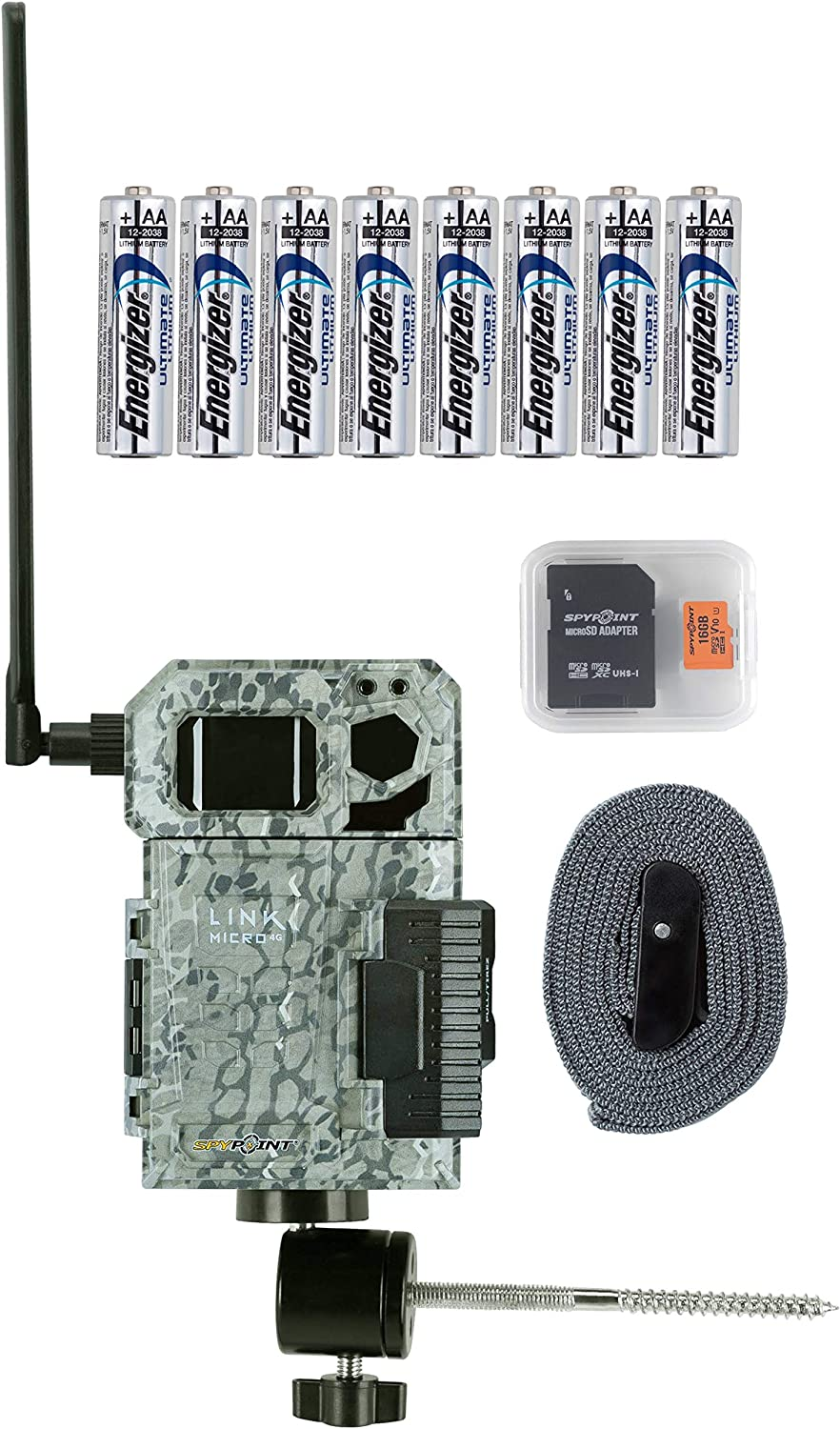 Spypoint Link Micro-V 4G Cellular Trail Camera with Batteries, Micro SD Card, and Mount