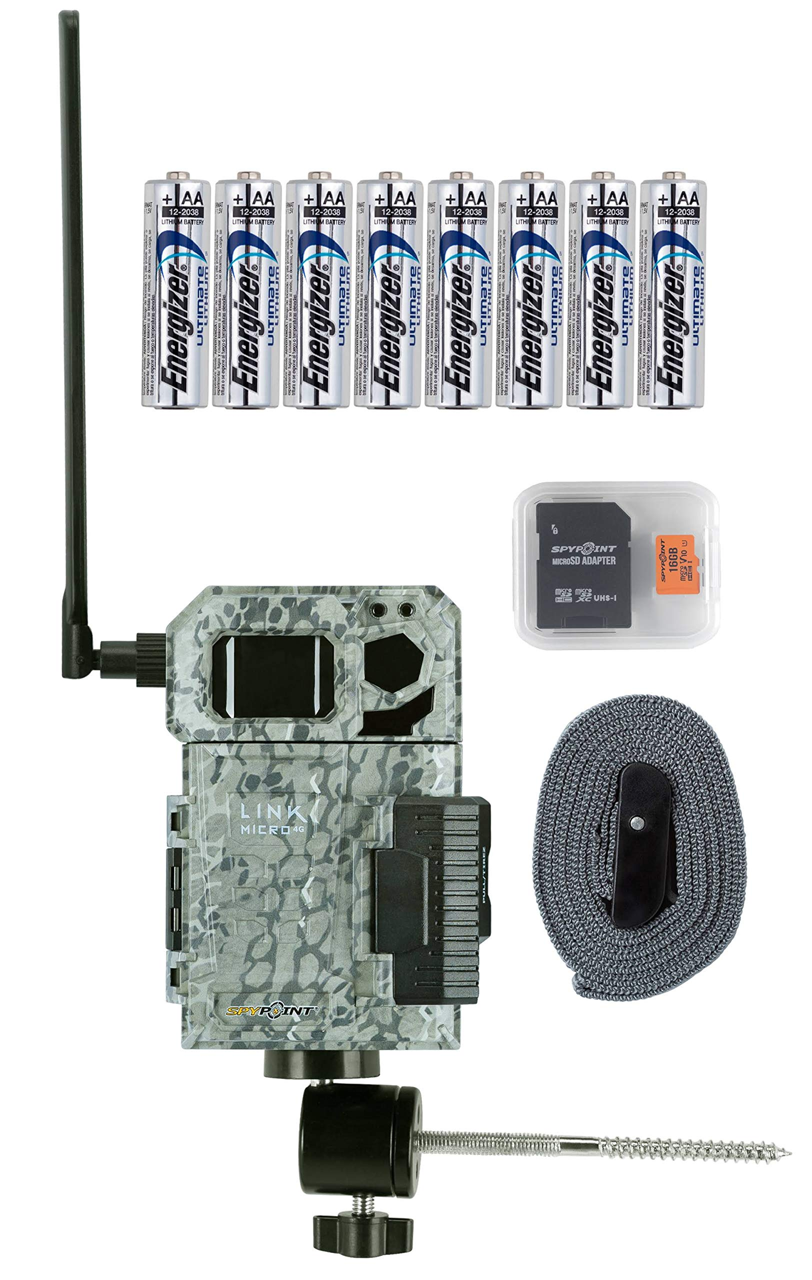 Spypoint Link Micro 4G Cellular Trail Camera with Batteries, Micro SD Card, and Mount (Verizon)