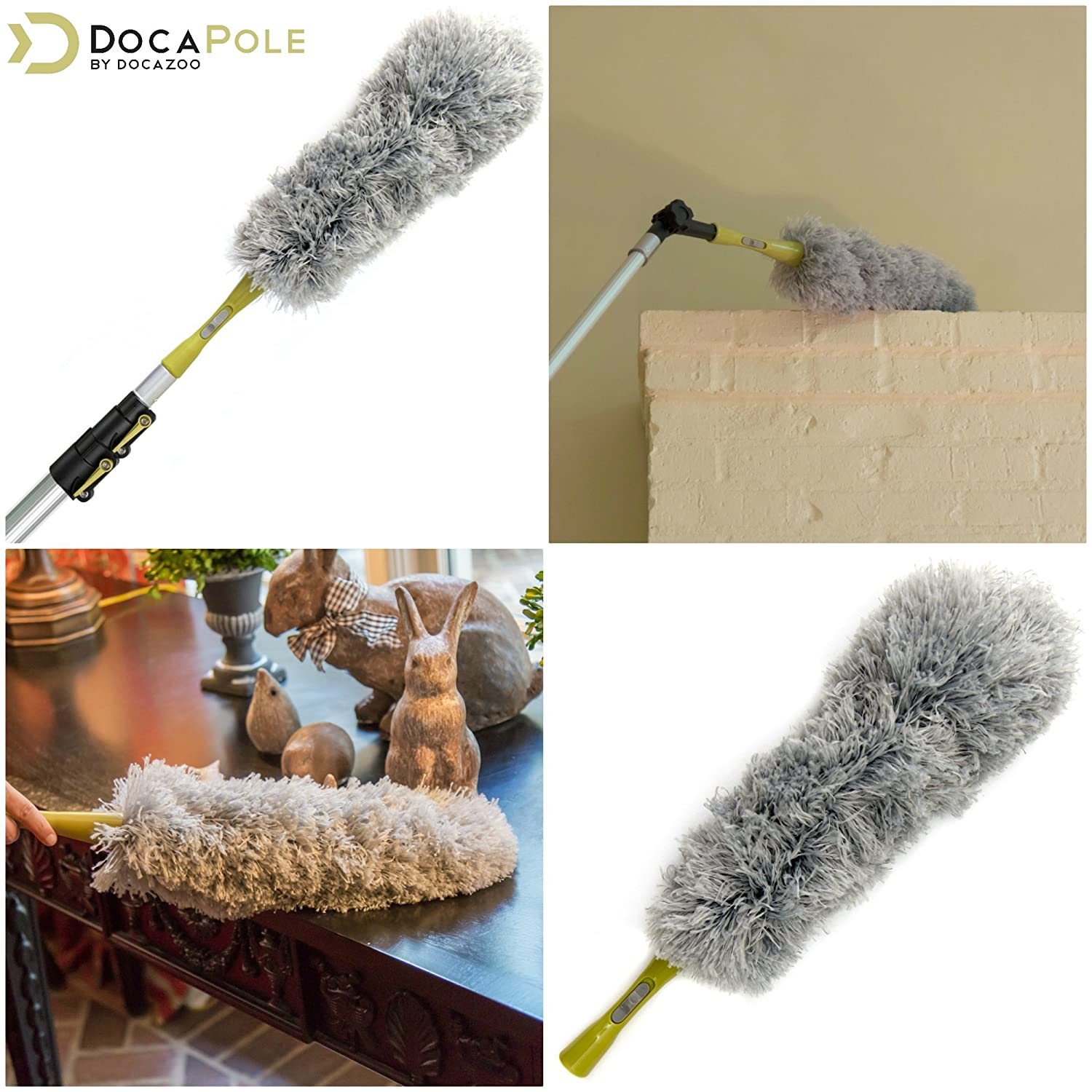 Flexible Chenille Ceiling Fan Duster Cobweb Duster Microfiber Feather Duster DocaPole Dusting Kit for Extension Pole or by Hand Cleaning Kit Includes 3 Dusting Attachments