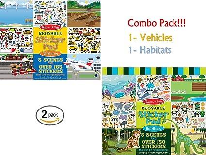 Melissa Doug Habitats Vehicles Reusable Sticker Pads