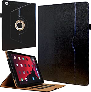 JYtrend Case for Old iPad 2(2011)/iPad 3(2012)/iPad 4(2012), Rotating Stand Wake up/Sleep Smart Cover with Pocket and Pen Holder for A1395 A1396 A1397 A1403 A1416 A1430 A1458 A1459 A1460 (Black)