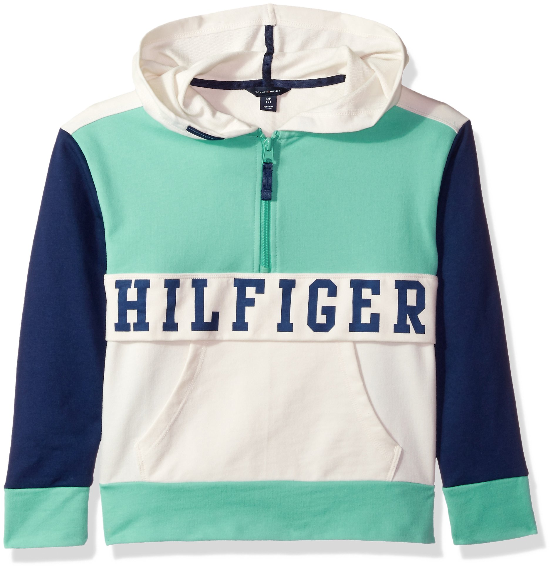 Tommy Hilfiger Big Girls' Colorblocked Hoodie, Florida Green, Small