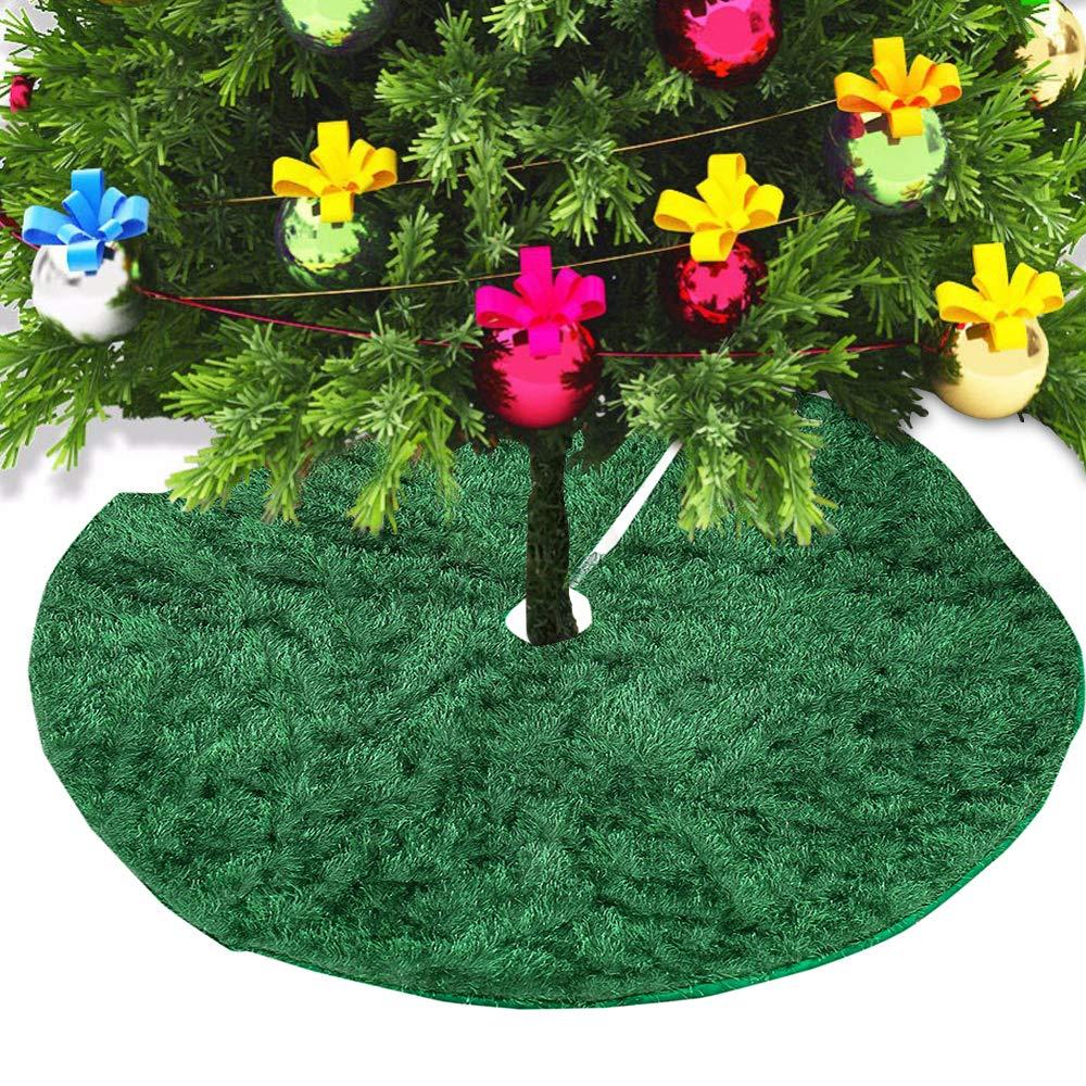 """Hootech Christmas Tree Skirt 35"""" Plush Xmas Tree Skirt Ornaments Christmas Decorations Christmas Party (35'', Green)"""