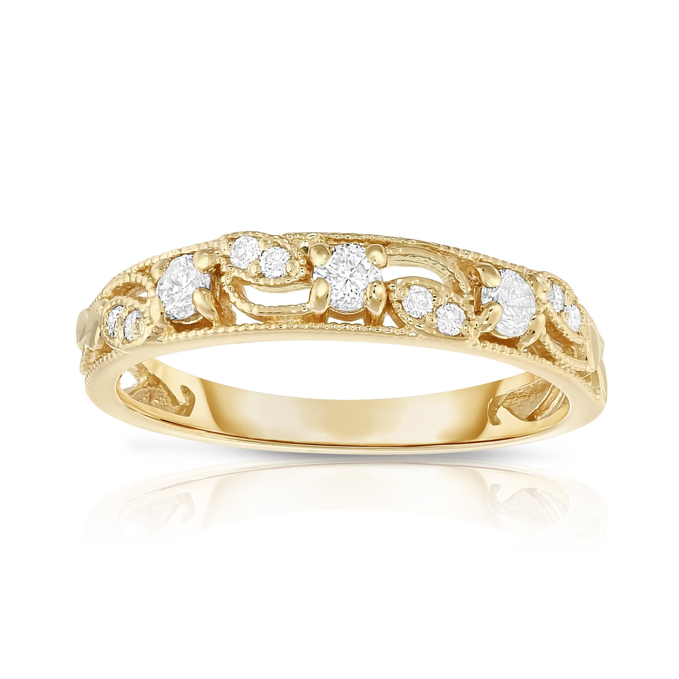 Noray Designs 14K Yellow Gold 1/4 Ct, G-H, SI2-I1 Clarity) Stackable Ring