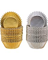 Foil Metallic Cupcake Case Liners Muffin Paper Baking Cups Gold and Silver (200 Pieces)
