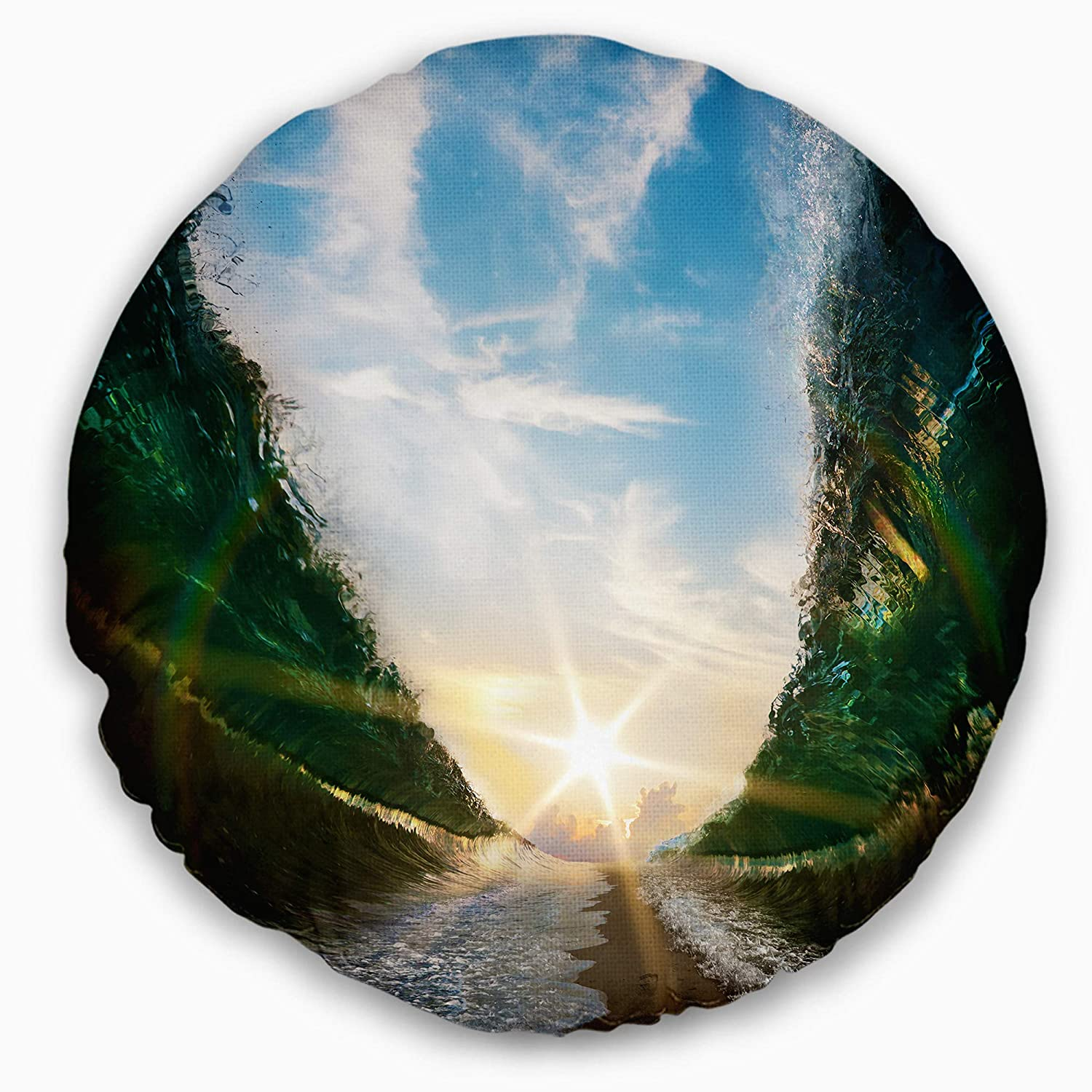 Designart CU10599-20-20-C Sandy Path to The Sun in Parted Sea Seascape Throw Cushion Pillow Cover for Living Room Pillow Insert 20 Round Sofa Cushion Cover Printed on Both Side