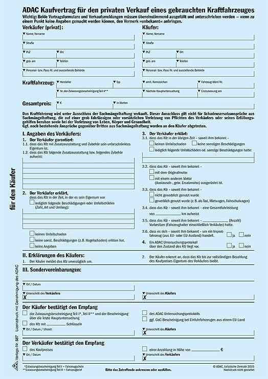 Adac Kaufvertrag Für Priv Verkauf Gebrauchtes Kfz Sd 1 X 2 Blatt