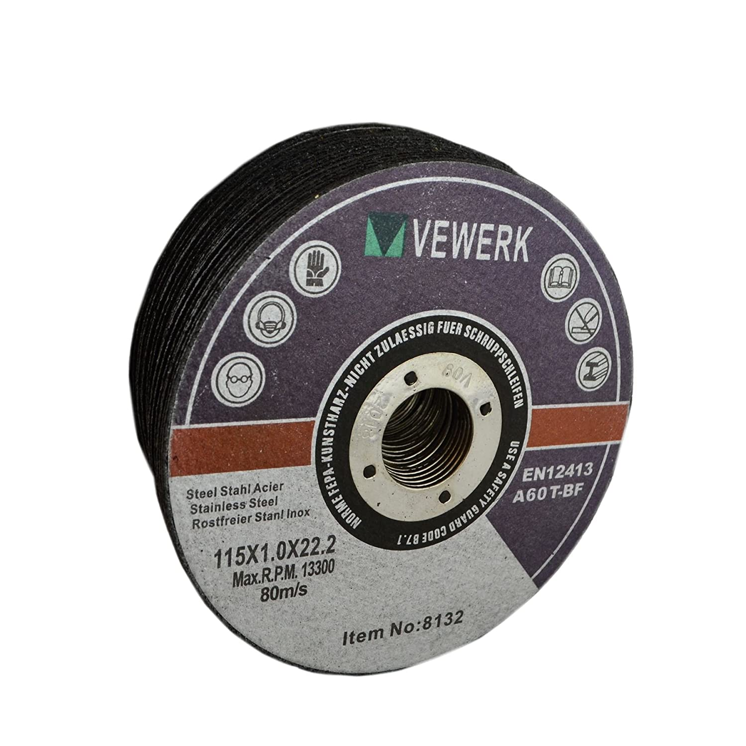Thin Metal Steel Cutting Discs For 4-1/2' Angle Grinder 115mm x 1mm Pack of 25 AB Tools