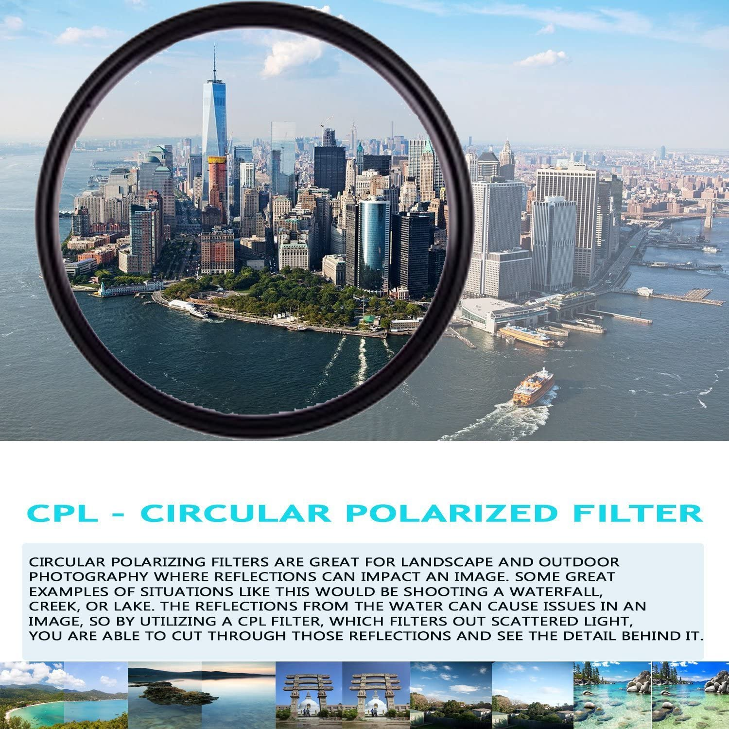 High Definition 58mm CPL Circular Polarizing Filter with Multi-Coating for Canon EF 70 300mm f//4 5.6 DO is USM Lens 5.6 is USM 300mm f//4.5 Canon EF 75-300mm f//3.5-5.6 III Lens Canon EF 70