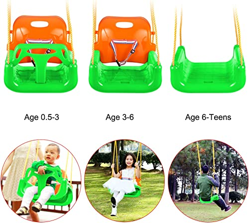 Flyerstoy 3-in-1 Toddler Swing Seat Infants to Teens Hanging Swing Set for Playground Swing Set Green