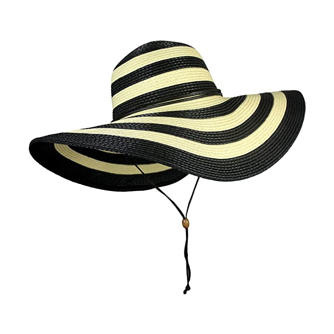 adb50e383e6ea Amazon.com: UPF 50+ Large Striped Straw Floppy Sun Hat- Adjustable Wide  Brim Beach Hat with Chin Strap (Black Stripe): Sports & Outdoors
