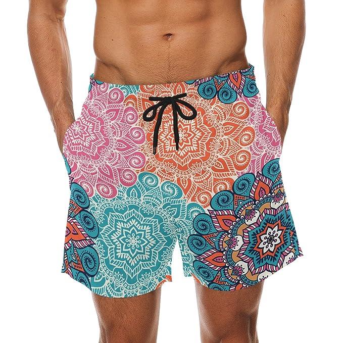 LORVIES Rápido Hombre Cortos Pantalones Mandala Hombre Board Multicolor para Beach para Secado 8fZ8qwr