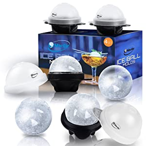 Unique Ice Ball Maker Sphere Mold - 4 Pack - Round Ice Cube Molds - Make Large 2.5-inch Ice Cube Balls for Whiskey - Lightweight, Flexible & Durable Spherical Silicone Ice Tray