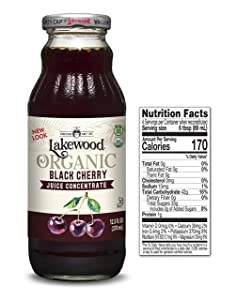 Lakewood Organic Black Cherry Concentrate Juice, 12.5 Ounce (Pack of 6)