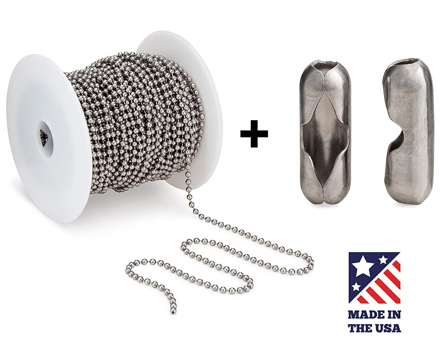 #6 Chain Beaded Ball 100 Feet Spool and #6 Couplings, Stainless Steel - Bundle