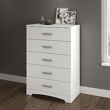 Amazon.com: South Shore Gramercy 5-Drawer Dresser, Pure ...