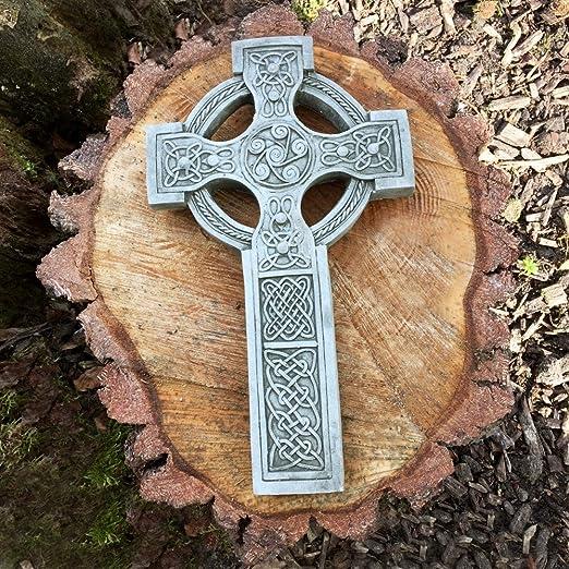 Celtic cross stone garden ornament grave marker memorial statue detailed