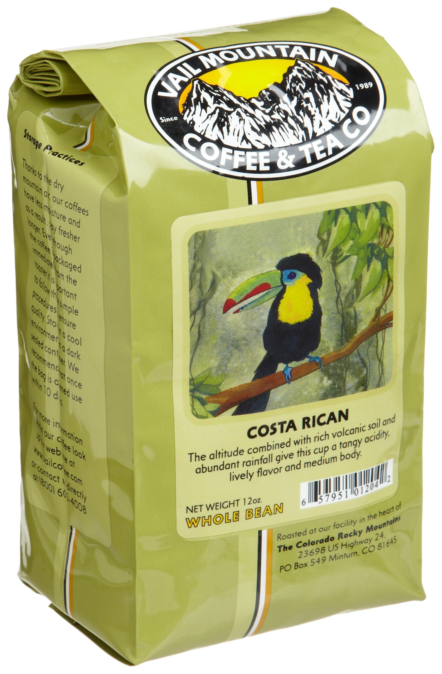 Vail Mountain Coffee & Tea Costa Rican Whole Bean Coffee, 12-Ounce Bags (Pack of 3) by Vail Mountain Coffee & Tea