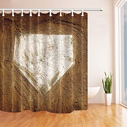 HiSoho Sports Decor Home Plate Baseball Shower Curtain In Bath 71X71 Inches Mildew Resistant Polyester Fabric