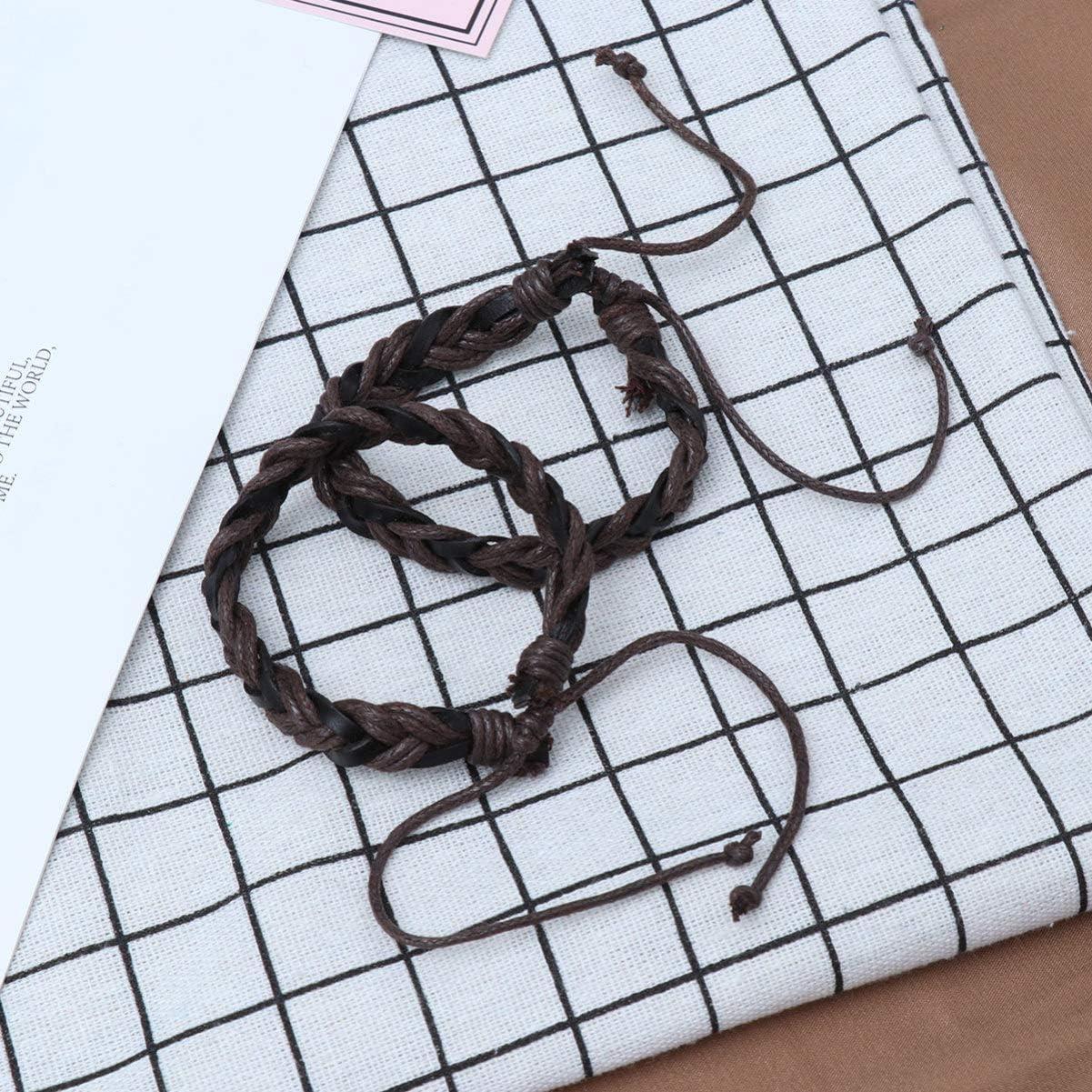 Black SUPVOX 10PCS Leather Friendship Bracelet Adjustable Bracelet Wrist Bracelets Woven Bracelets for Men Women