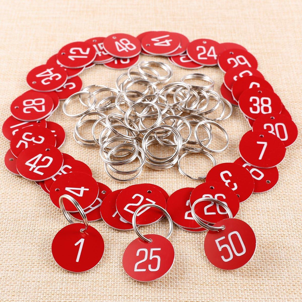 50//100 Etiquettes ID identification porte cl/é tag num/éro bagage consigne table marque place bleu argente 1-100 sans porte cl/é bleu