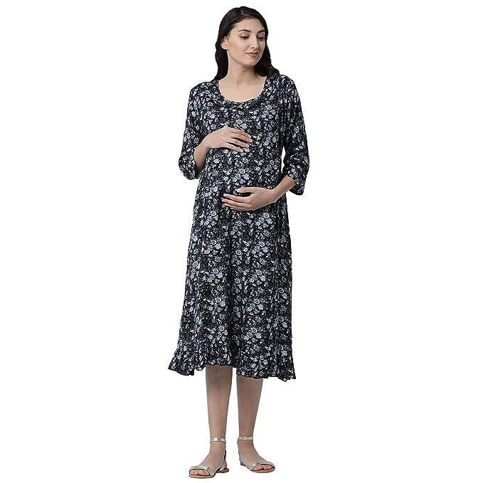 b278fc8129a GOLDSTROMS Minelli Women Rayon Fabric Calf Length Maternity Nursing Feeding  Long Gown Black