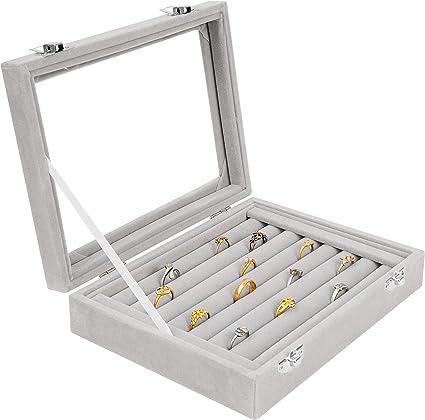 Samt Glas Ring Ohrring Schmuck Display Box Aufbewahrungsbox Ring Collection Neu