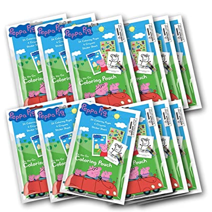 Amazon.com: 12 Set Peppa Pig Coloring Pouch with Crayons ( Set of 12 ...