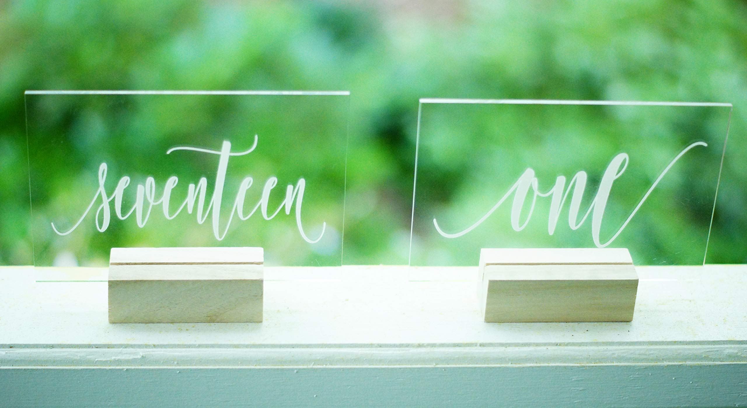 Set of 20 Acrylic Calligraphy Table Numbers   Wedding Event Shower Reception Restaurant   Glass like Clear Modern Formal Elegant Vintage Rustic   Sign Placard Card   Lettering Script Handwriting Print by Generic (Image #2)