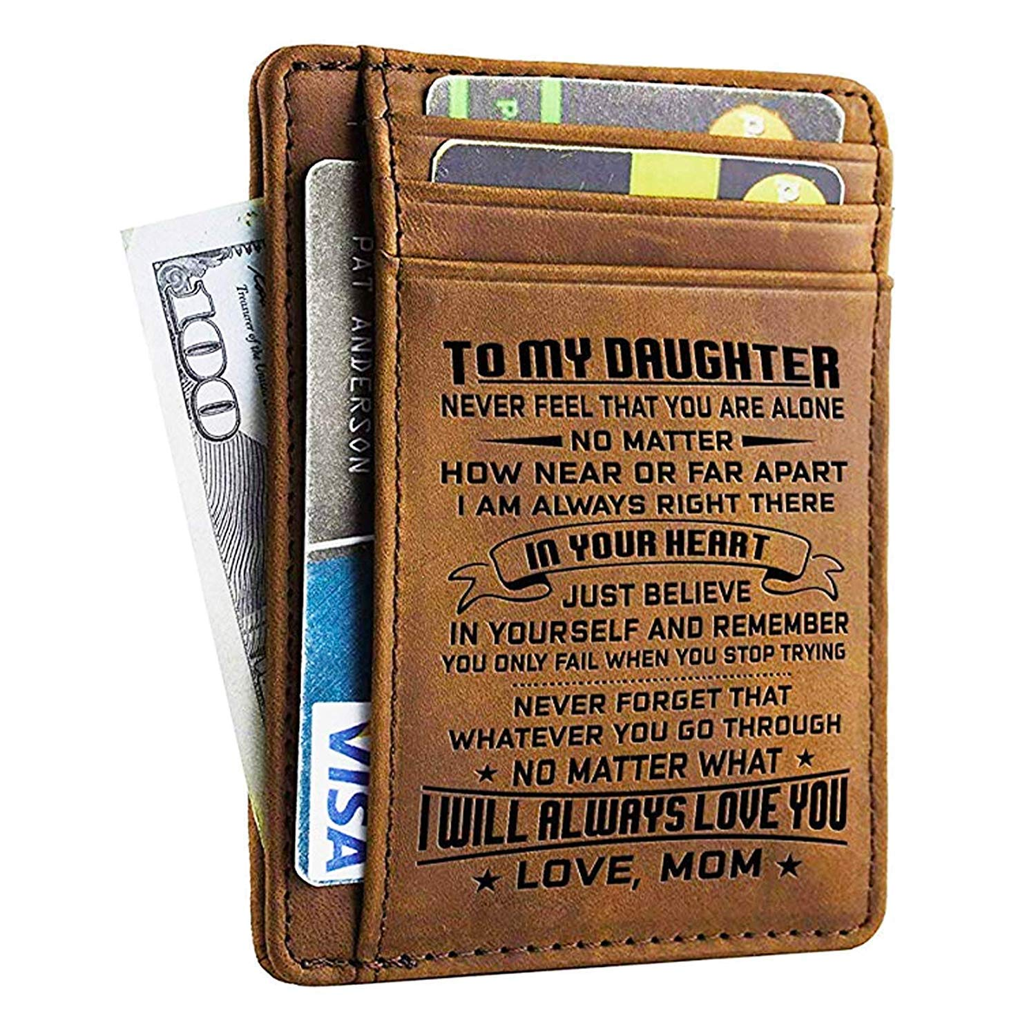 Engraved Pocket Wallet For Men - Personalized Minimalist Wallets Gift for Son Daughter from Dad/Mom Birthday Christmas Gift