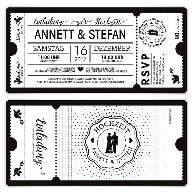 30 X Hochzeit Einladungen Einladungskarten Schwarz Weiß Ticket Eintritt  Schwarze Version: Amazon.de: Bürobedarf U0026 Schreibwaren