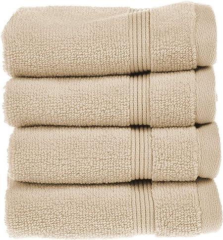 Toalla de tela egipcia Supersoft sin girones (cara, mano, bañera, toalla, alfombra de baño), algodón egipcio, crema, 4x Face Towels: Amazon.es: Hogar