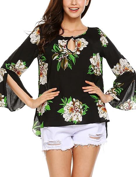 Amazon.com: ThinIce - Blusa con estampado floral para mujer ...