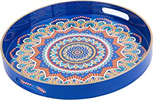 "Zosenley Round Decorative Tray, Floral Plastic Tray with Handles, Colorful Vanity Tray and Serving Tray for Ottoman, Coffee Table, Kitchen and Bathroom, Size 13"", Ethnic Style"