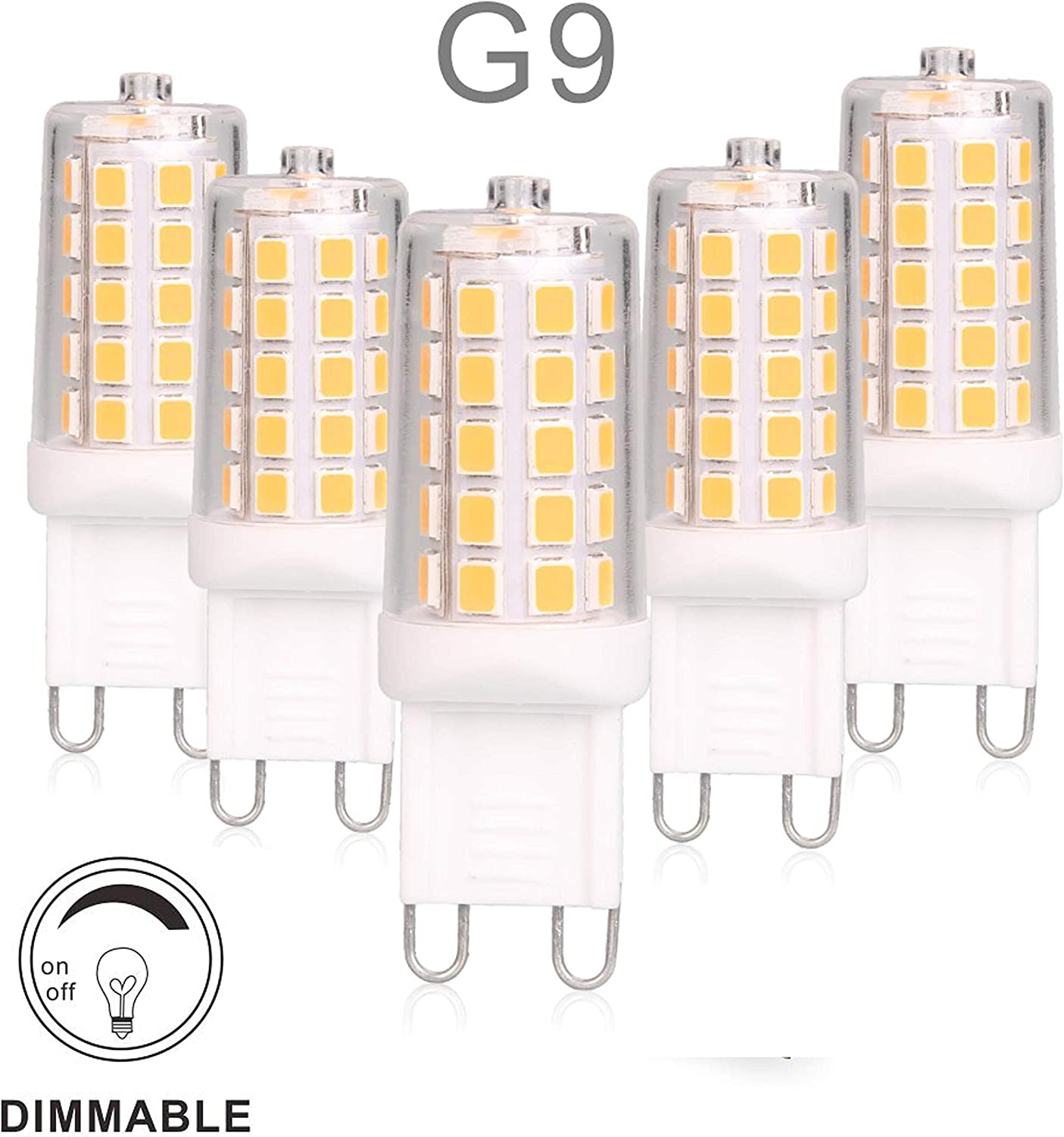 G9 LED Bulb Dimmable 4W, 40 Watt T4 G9 Halogen Equivalent, 2700K Soft Warm White, 120V No-Flicker, Chandelier Lighting 450LM (5 Pack) by BAOMING