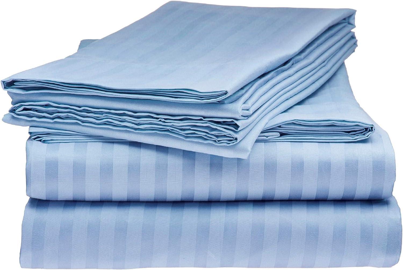 Sarah Ashley Elegante 1800 Premier Series Striped 4pc Queen Bed Sheet Set, Light Blue
