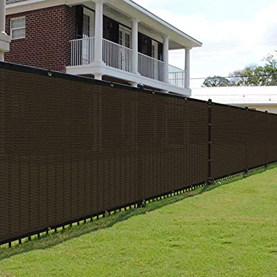 E&K Sunrise 6' x 17' Brown Fence Privacy Screen, Commercial Outdoor Backyard Shade Windscreen Mesh Fabric 3 Years Warranty (Customized Set of 1 : Garden & Outdoor