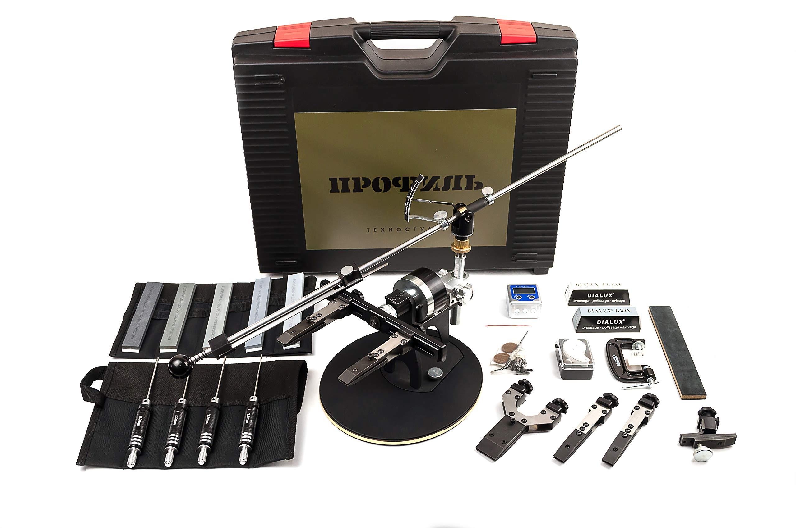 TSPROF Professional Knife Sharpener System, Knife Sharpening Kit, Gift Kit Black K03 (K02LU)