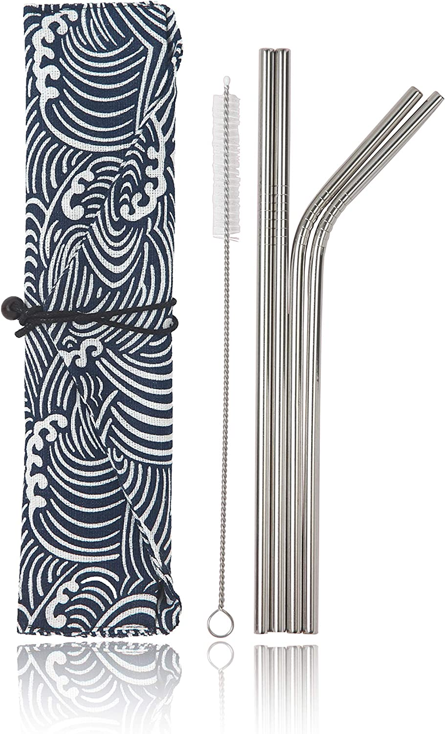 Stainless Steel Reusable Metal Straws - 4 Pack 8.5 inch Portable Food Grade