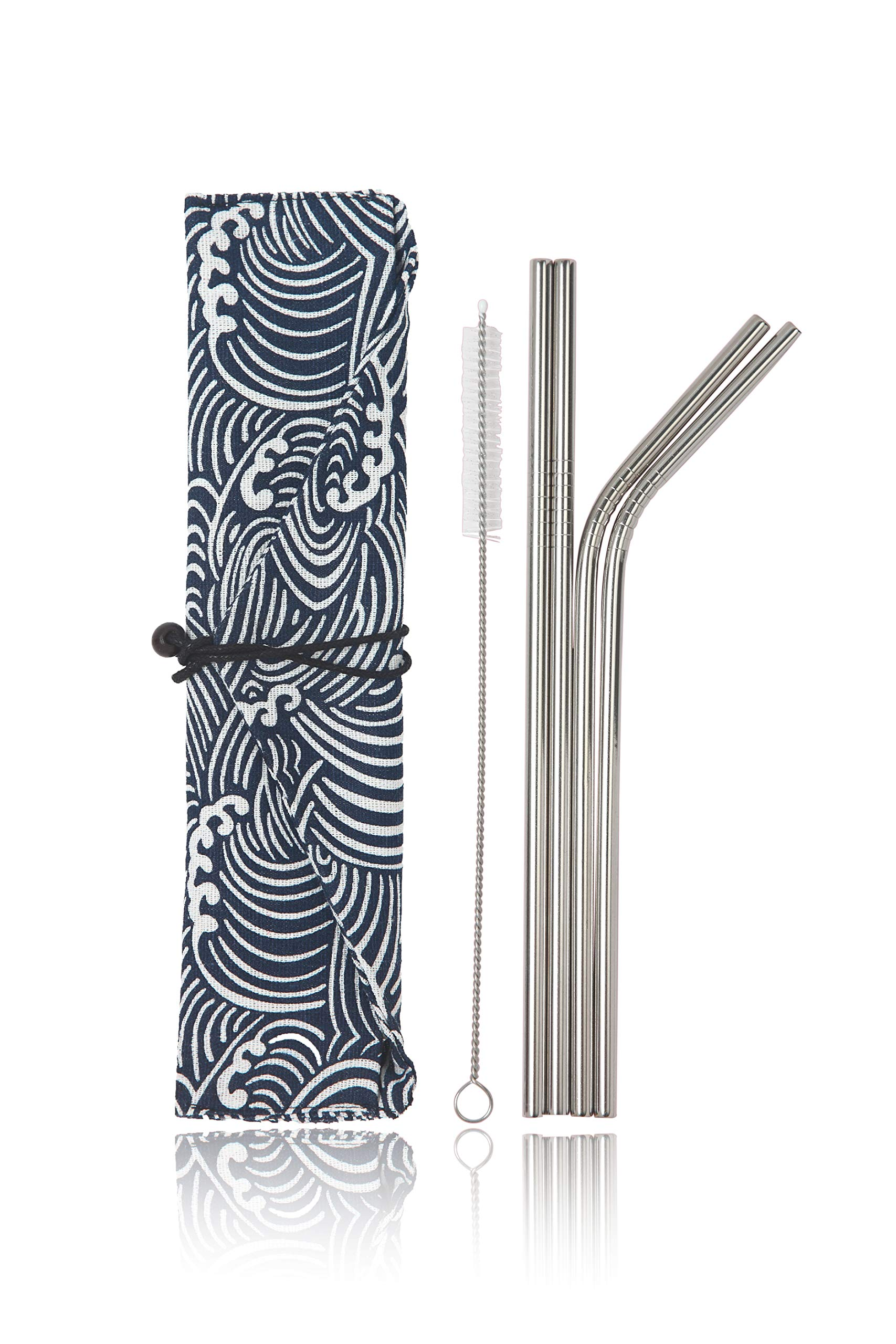 Stainless Steel Reusable Metal Straws -Portable Food Grade 4 Pack 8.5'' Cleaning Brush and Stylish Cloth Bag case Included. Fit 20 oz. tumblers. (Small Waves)