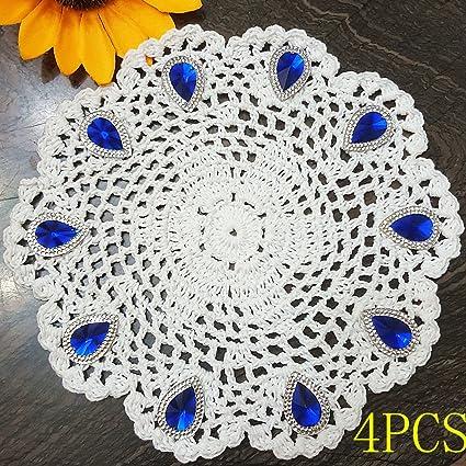 Amazoncom Pure Handmade 4pcs Crochet Cotton Lace Round Table Mat